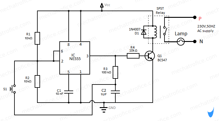 ON OFF Latching switch circuit diagram using IC 4017,555