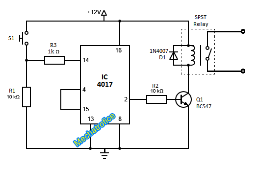 on off toggle switch circuit diagram using ic 4017 rh mechatrofice com 12 Volt LED Circuit Diagram electronic toggle switch circuit diagram