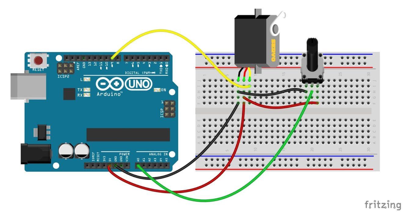 Arduino Potentiometer Servo Control Circuit