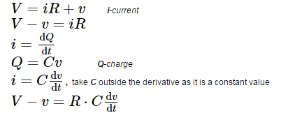 Derivation for voltage across a charging and discharging