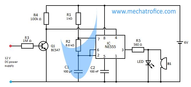 power supply failure indicator alarm circuit using ne555 ic rh mechatrofice com DC Voltage Multiplier DC Voltage Multiplier