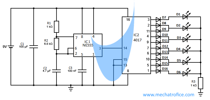 Led Chaser Circuit Using Ic 4017 And 555