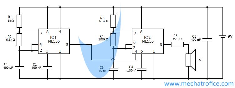Audio Tone Generator Circuit Using 555 741 Ic