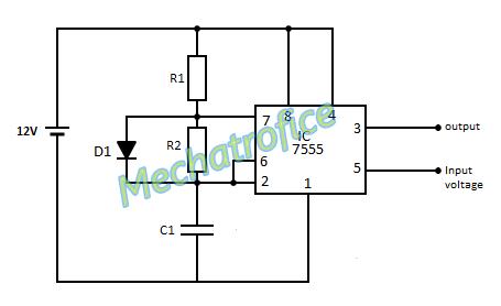 Voltage controlled oscillator circuit - VCO using 555 on spdt switch diagram, relay diagram, spst switch diagram, xor diagram, resistor diagram, 7 segment display diagram, potentiometer diagram, capacitor diagram, transformer diagram,