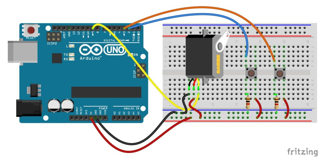 [EQHS_1162]  Servo control by push button switch arduino | Wiring 3 Way Light Switch Diagram Motor Control With Arduino |  | Mechatrofice