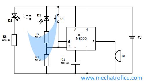 infrared burglar alarm using ic 555 circuit diagram rh mechatrofice com