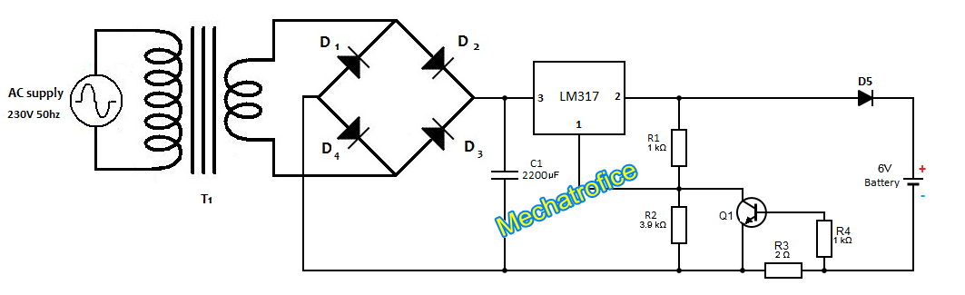 battery charger circuit with indicator over current overcharge rh mechatrofice com battery charger schematics 12v battery charger circuit
