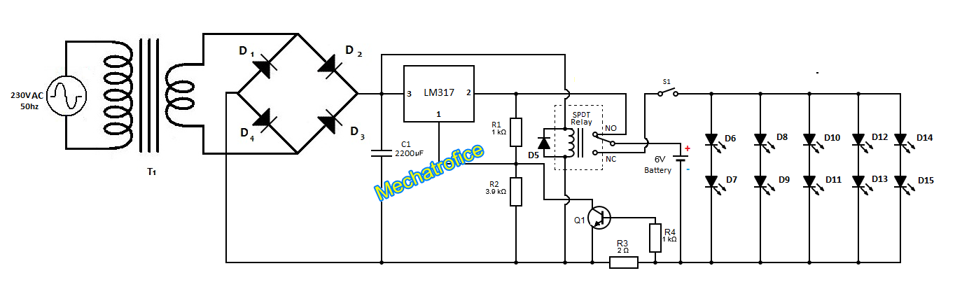Power failure emergency light circuit diagram mechatrofice power failure emergency light circuit diagram ccuart Gallery