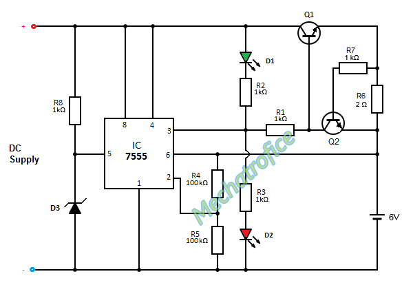 Battery charger circuit with indicator over current overcharge circuit operation automatic battery charger battery charger with led indicator publicscrutiny Images