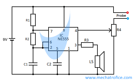 Continuity tester circuit with buzzer using 555 timer and 741 ic continuity tester circuit using 555 ccuart Choice Image