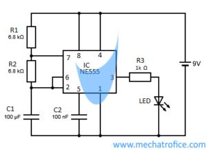 Led flasher circuit diagram using 555 timer ic ccuart Choice Image