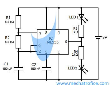 led flasher circuit diagram using 555 timer ic rh mechatrofice com LED Flasher Circuit Schematic Turn Signal Flasher Circuit
