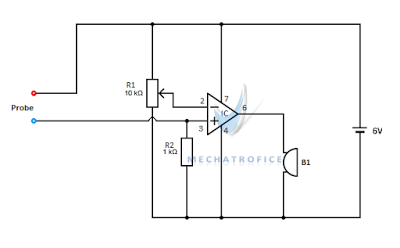 Continuity tester circuit with buzzer using 555 timer and 741 ic op amp continuity tester circuit ccuart Choice Image