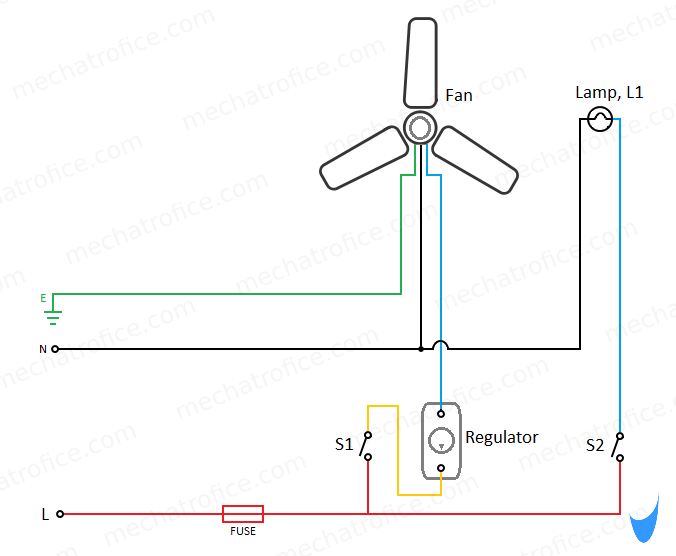 Ceiling Fan And Light Wiring Circuit Diagram